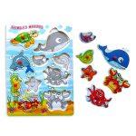 puzzle encaje boton animales marinos